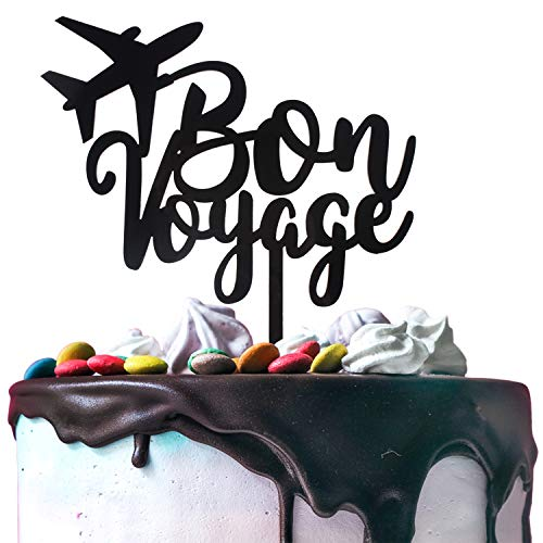 Bon Voyage Plane Black Acrylic Cake Topper Cheers