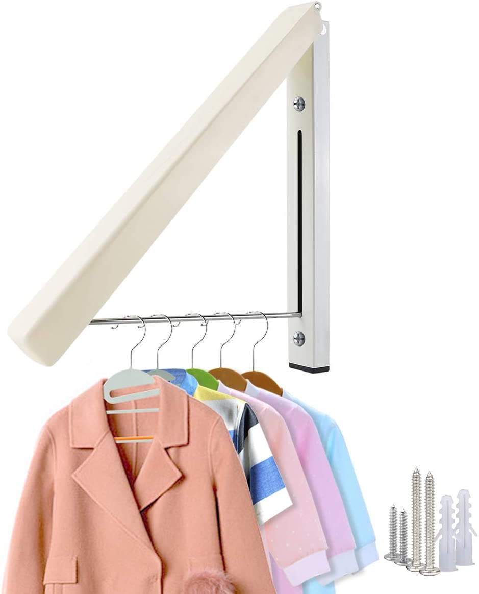 Mai Hongda Folding Clothes Hanger Wall Mounted Retractable Laundry Room Organizer Drying Rack Holder Stainless Steel Rod Hanging on Bathroom Balcony Garage Indoor/Outdoor Dryer (Triangle 1 Pack)