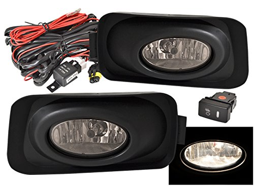 lacement Driving Fog Lights Lamps Assembly Unit Smoked Lens With Wiring Harness Kit And Switch For Acura Tsx 4 Door (Light Unit Kit)