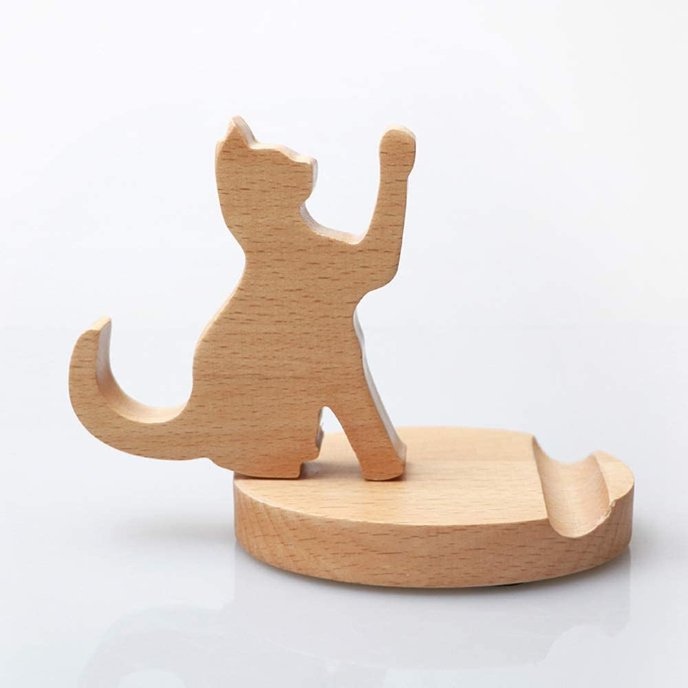 MHKBD Wooden Phone Stand Cell Phone Holder Desktop Cellphone Stand Universal Desk Stand for All Mobile Smart Phone Cat Great for Personal Use or As a Gift 30 Piece Cute Cell Phone Stand