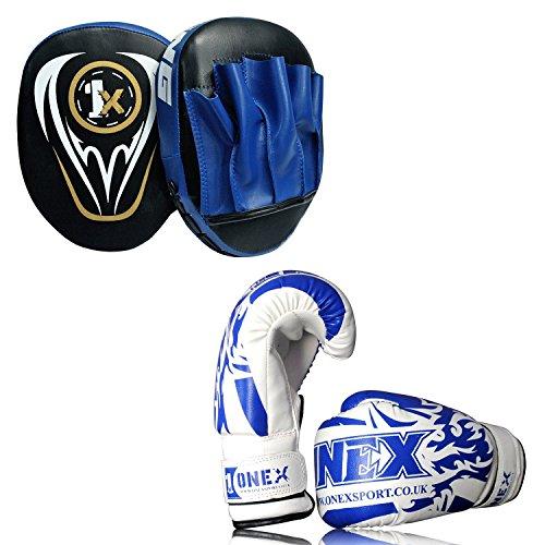 ONEX Hook /& Jabs 6oz Boxing Gloves Junior sizes Rex leather Punching Focus Pad Mitts MMA Training Strike shield