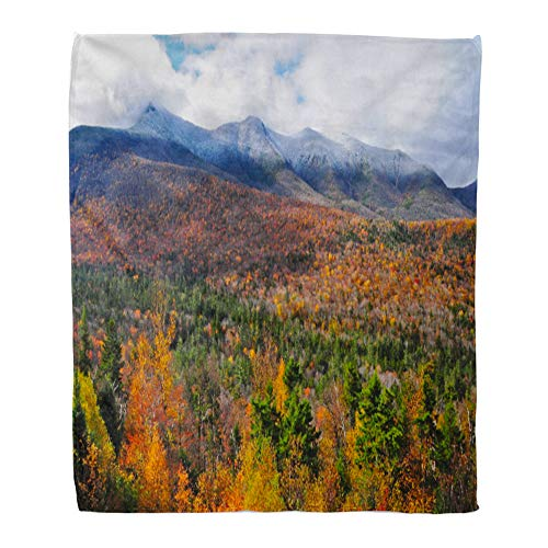 Emvency Throw Blanket Warm Cozy Print Flannel Orange England The White Mountains of New Hampshire in Fall USA Red Landscape Comfortable Soft for Bed Sofa and Couch 50x60 Inches