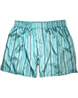 Royal Silk® - Sexy Aqua Blue Madras Stripes - Men's Silk Boxers