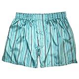 Royal Silk¨ - Sexy Aqua Blue Madras Stripes - M - MenÕs Silk Boxers