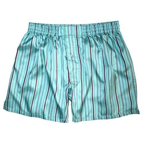 Royal Silk¨ - Sexy Aqua Blue Madras Stripes - XL - MenÕs Silk Boxers (Boxers Madras)