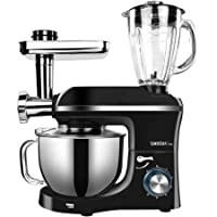 MIC 5.5L Large Capacity Electric Stand Mixer Meat Grinder Juice Blender 3 in 1 Multi-Functional 1100W Durable Mixing Machine for Kitchen - Black
