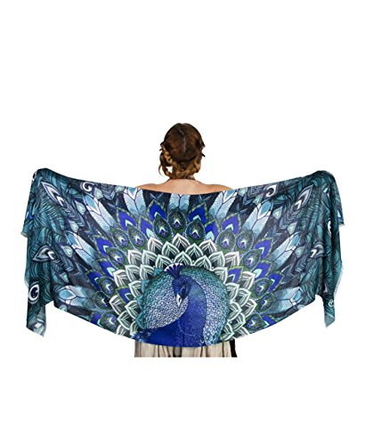 Aqua Peacock Scarf, Silk and Cashmere hand painted Blue Winged Feather Wrap, - Wrap Hand Silk Painted