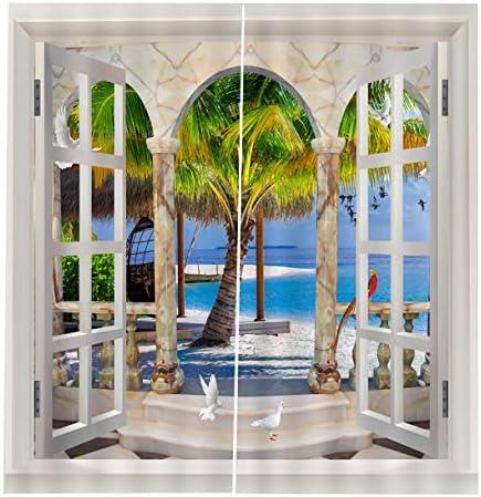 QinKingstore 150 * 166カーテン用リビングルーム寝室窓カーテンフライングバードプリントバルコニーサンシェーディングガーデンスタイル