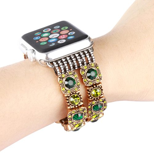 GBSELL Pretty Sports Beaded Gemstone Bracelet Band Strap For Apple Watch Series 1 38mm (Green)