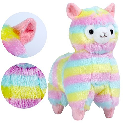 KSB 7.3-Inch Rainbow Alpaca Plush Stuffed Animal Toy