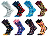 TooPhoto Mens Funny Novelty Casual Combed Cotton Crew Mid Calf Crazy Funky Socks 8 pairs