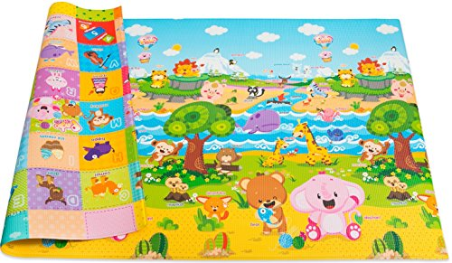 Abc Zoo Alphabet Puzzle - Baby Care Play Mat Foam Floor Gym - Non-Toxic Non-Slip Reversible Waterproof, Pingko and Friends, Large