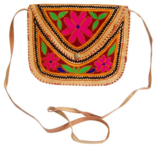 Beautiful Handmade Floral Design Multi Color Embroidered Camel Leather Sling shoulder Bag