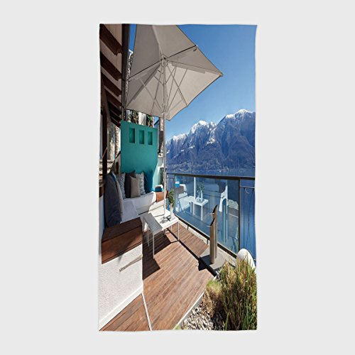 One Side Printing Hotel SPA Beach Pool Bath Hand Towel,Travel Decor Snowy Mountain Lake Scenery Terrace Divans Luxury House Image Light Blue Brown and White,for Kids Teens and ()