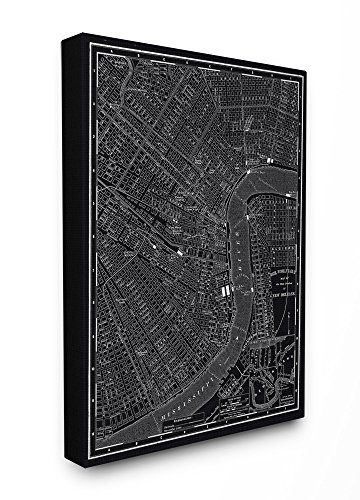 (Stupell Home Décor New Orleans 1985 Vintage Map Oversized Stretched Canvas Wall Art, 24 x 1.5 x 30, Proudly Made in)