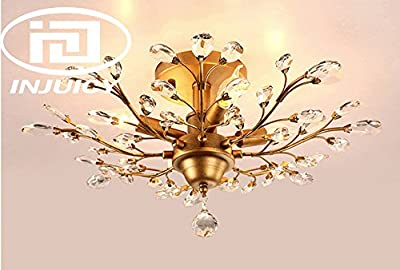 Injuicy Lighting Vintage K9 Crystal Metal Edison Branches Led Ceiling Lights Fixtures Retro Wrought Iron French Villa Ceiling Lamp Shade for Living Room Bedroom Porch Chandelier