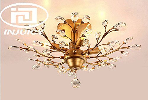 Injuicy Lighting Vintage K9 Crystal Metal Edison Branches Led Ceiling Lights Fixtures Retro Wrought Iron French Villa Ceiling Lamp Shade for Living Room Bedroom Porch Chandelier (Gold Dia.24.4 Inch) (Vintage Gold Crystal)