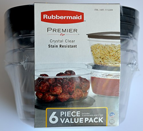 Rubbermaid Premier Food Storage Container, 14 Cup, Grey (3 Pack)