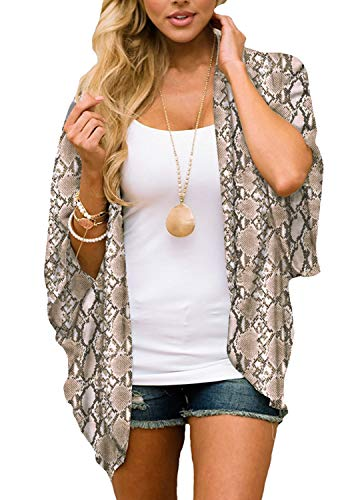 casuress Women's Cardigan-Sheer Kimono Loose Summer Floral Print Cover Ups (Medium, Snake Tattoo ()