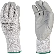 AmazonBasics Cut Resistant Work Gloves, Cut Level A2, Polyurethane Coated Gloves, Touch Screen, Salt and Peppe