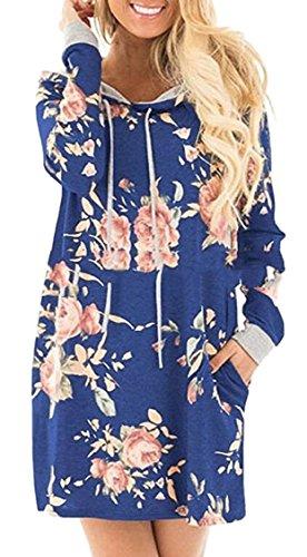冷蔵する漂流確保するKeaac 女性の花のプリントカジュアル長袖パーカーブラウスシャツ