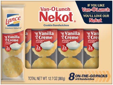 (Lance Van-O Lunch Nekot Vanilla Creme Cookies 8 Count (Pack of 4))