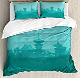 Asian King Size Duvet Cover Set by Ambesonne, Various Temples above the Sea Holy Tank in Fog Symbolic Faith Custom Pagoda Monochrome, Decorative 3 Piece Bedding Set with 2 Pillow Shams, Turquoise