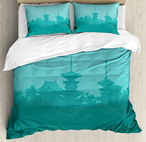 Asian King Size Duvet Cover Set by Ambesonne, Various Temples above the Sea Holy Tank in Fog Symbolic Faith Custom Pagoda Monochrome, Decorative 3 Piece Bedding Set with 2 Pillow Shams, Turquoise by Ambesonne