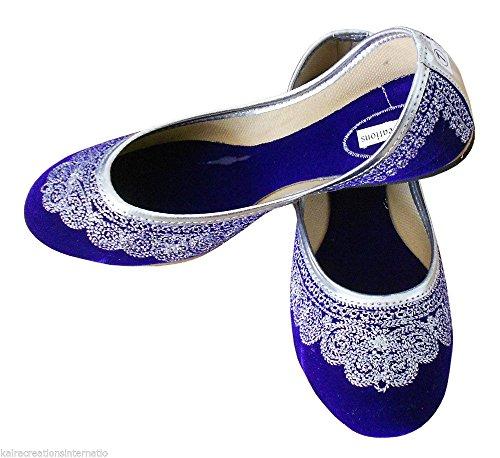 Kalra Creations Women's Traditional Handmade Velvet Indian Designer Shoes Blue DxkWhTCj