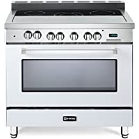 Verona VEFSEE365W 36 Electric Range with 4 cu. ft. European Convection Oven Black Ceramic Glass Cooktop Chrome Knobs and Handle True White