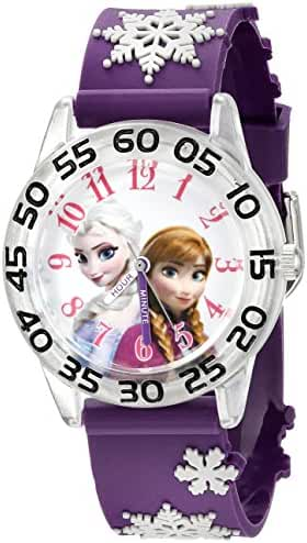 Disney Kids' W002437 Frozen Elsa & Anna Time Teacher Analog Display Analog Quartz Purple Watch