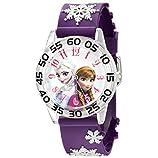 Disney Kids' W002437 Frozen Elsa & Anna Time Teacher Analog Display Analog Quartz Purple Watch
