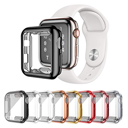 Lobkin 8 Pack Apple Watch Series 2 Series 3 case with Built-in HD Clear Ultra-Thin TPU Screen Protector Cover Compatible for Apple Watch Series Smartwatch Case (38MM)
