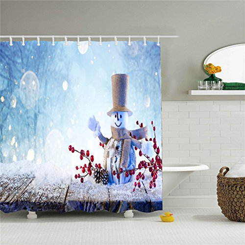 Colorful Christmas Snowman Decor Print Shower Curtain Set Size 69 by 84 Inch (Christmas Logs Lauren)