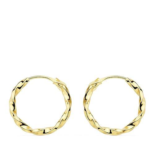 talla 40 17cb0 2b642 Pendientes aros gallonados oro amarillo 18 kilates 14 mm Niña Mujer