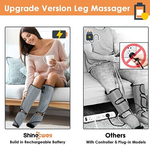 SHINE WELL Leg Massager for Circulation, Cordless Air Compression Foot Calf Massager with Built-on Controller, 3 Modes 3 Intensities Leg Compression Massager for Pain Relief Home and Office Use