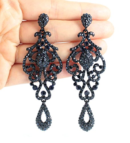 JANEFASHIONS PAGEANT AUSTRIAN CRYSTAL RHINESTONE NAVY CHANDELIER DANGLE EARRINGS E2090NB - Austrian Crystal Chandelier Earrings Jewelry