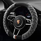 QIMEI】Universal Car Steering Wheel Cover Fluffy Size 38cm / 15' Winter Plush Steering Wheel Cover Warm (B-Gray)
