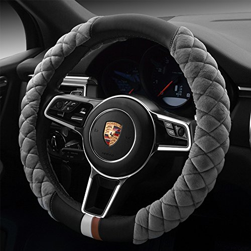 red and grey steering wheel cover - 8