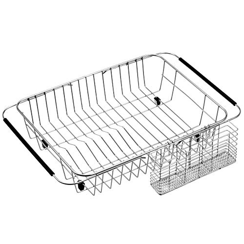 SANNO Dish Drying Rack with Utensil Holder Stainless Steel Large Dish Drainer Drain Expandable Shelf Dish Rack in Sink or Over Sink or On Counter Rustproof Stainless Steel
