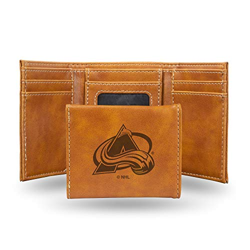 Nhl Tri Fold Wallet - Rico Industries NHL Colorado Avalanche Laser Engraved Tri-Fold Wallet, Brown