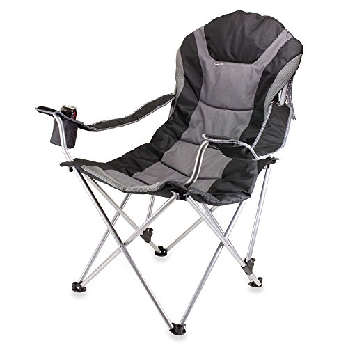 Outdoor Picnic Time Reclining Camping Chair in Black
