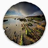 Designart CU14645-20-20-C Furnas Virgin Beach Galicia Spain' Seashore Throw Cushion Pillow Cover for Living Room, Sofa, 20'' Round