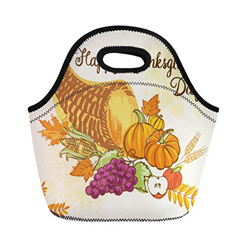Semtomn Lunch Bags Acorn Colorful Doodle of Thanksgiving Cornucopia Full Harvest Fruits Neoprene Lunch Bag Lunchbox Tote Bag Portable Picnic Bag Cooler - Fruit Acorn Knife