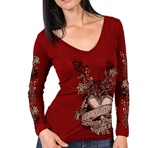 Hot Leathers Women's Banner Heart Long Sleeve Shirt (Heather Red, ()