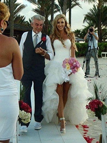 Ausschnitt Rueckenfrei Weiß Abendkleid Organza Ab Strand Kleid Aiyana Schnüren Brautklieder Damen Ärmellos Langes wq7XRIP8