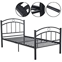 83x42x35 Black Metal Bed Frame Platform Twin Size Bedroom Home Furniture