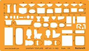 Metric 1:50 Scale Architectural Sanitary Plumbing Fixtures Architect Drafting Template Stencil - Technical Drafting Design Floor Plan Symbols