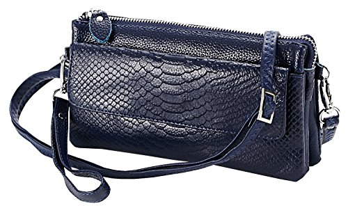 - Heshe Genuine Leather Crocodile Clutch Organizer Purse Shoulder Crossbody Wrislet Bag Satchel Purse Handbag for Women (Navy Blue)