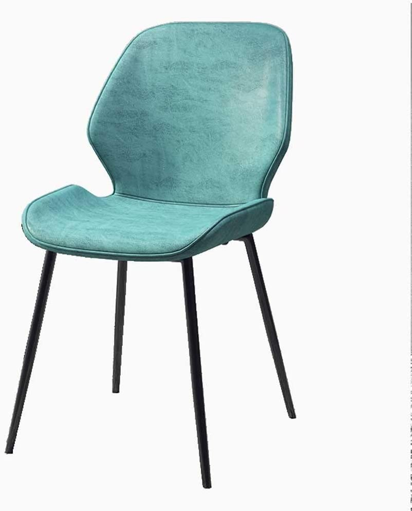 Dining Chairs, Kitchen Leather Dining Room Chairs Metal Legs High Back Kitchen Furniture Office Lounge Soft Seat and Back Living Room Sun Lounger (Color : Blue)